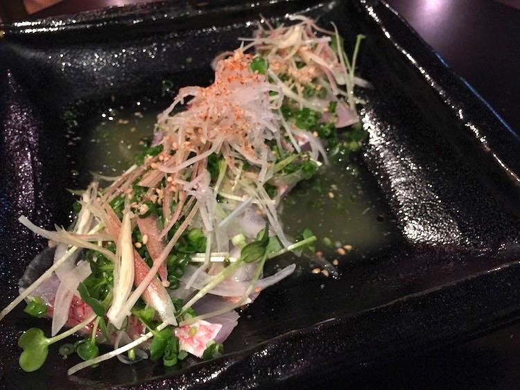 虹ノ介の赤マチと香味野菜の塩たたき