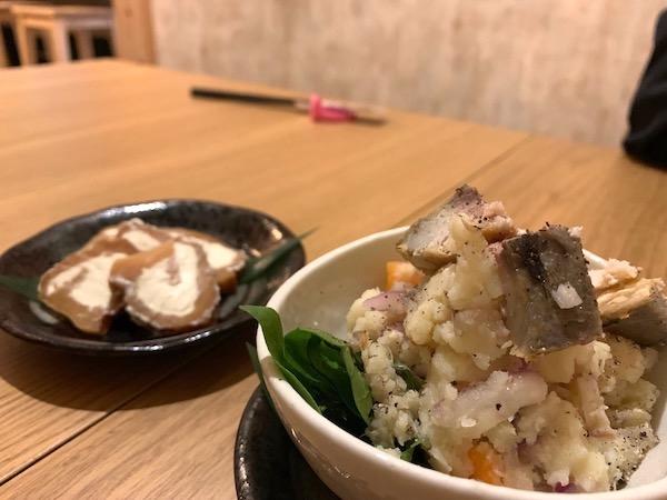 石垣島の居酒屋「酒晴」のポテサラ