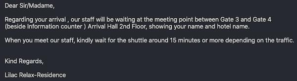 バンコクのホテル「ライラック・リラックス・レジデンス(lilac Relux residence)」からのメール