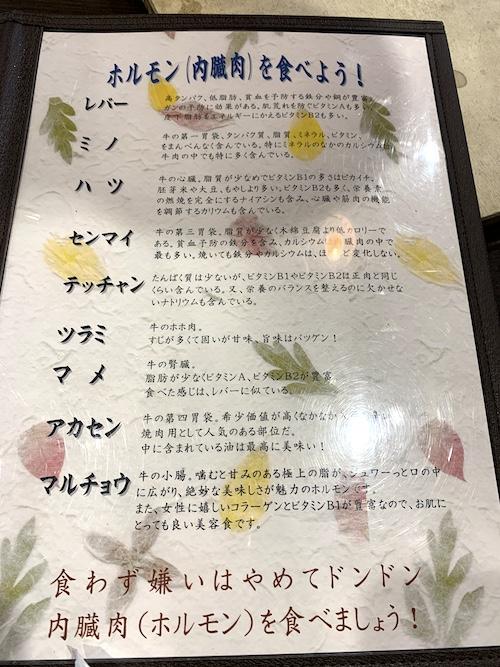 石垣島の焼肉「やまもと」部位の説明